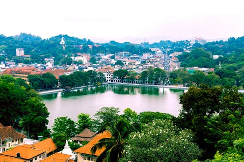 Aerial view of Kandy lake